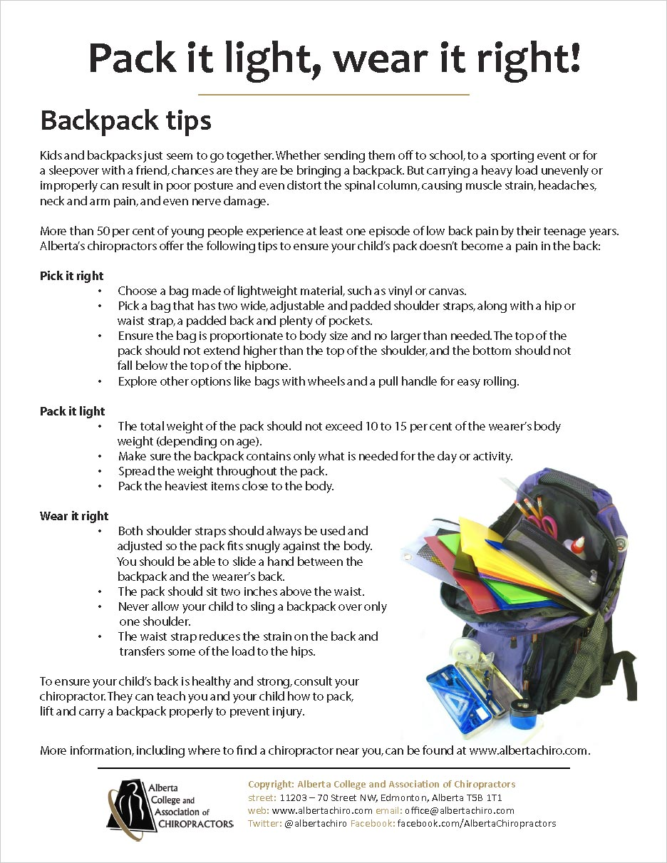 Calgary Chiropractor Offers Back To School Backpack Tips ...